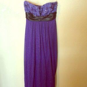 Elegant purple strapless dress